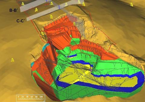 3D-Lagerstättenmodell und hydrogeologisches Strömungsmodell eines Steinbruchs